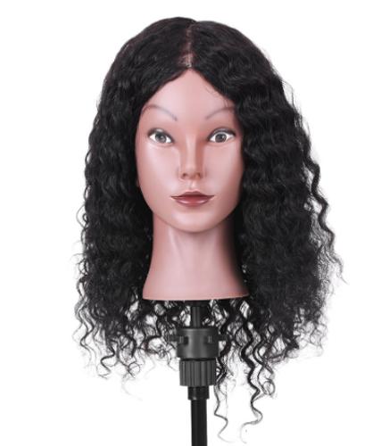 """15 """"100% Pelo Real Mannequin Head Cabeza de Entrenamiento del Salón de Peluquería Cosmetología Mannequin Head Salon Maniquí Cabeza para la Práctica de Peluquería"""
