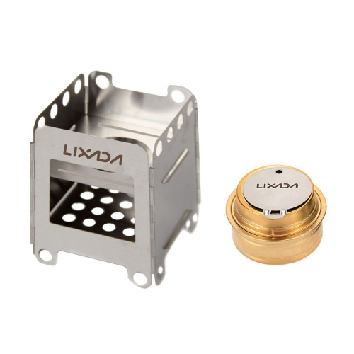Camping Stove,Lixada Stainless Steel Folding Wood Stove+Backup Alcohol Burner Pocket Stove for Outdoor Camping Cooking Picnic