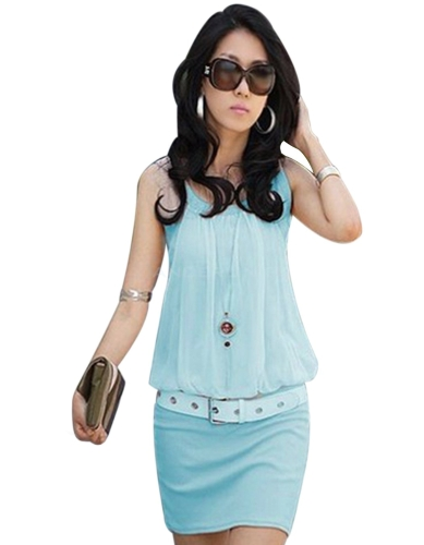 Las nuevas señoras con estilo O-cuello sin mangas elegante túnica causales mini vestido Vestidos para mujer 4 colores