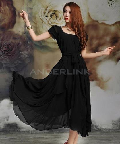 Heiße Mode Frauen Vintage-Stil Kurzarm langen Ball Party unregelmäßige Abendkleid