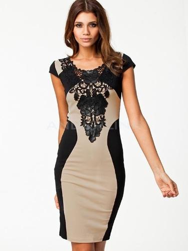 New Elegant Women's Sleeveless Lace Neck Dress Evening Cocktail Party Dress