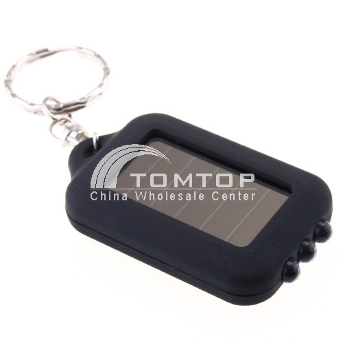 3 LED Mini Solar Power Flashlight Torch keychain - Black