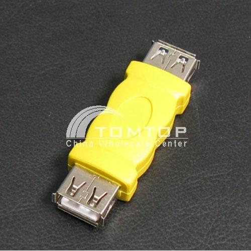 Amarelo USB tipo um adaptador fêmea para fêmea conversor