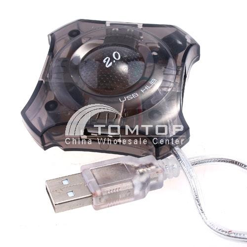 Mini high speed USB 2.0 4 Port HUB - black