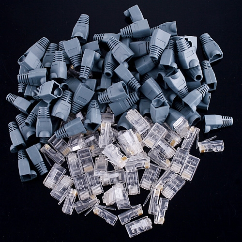 50 conjunto de plugues modulares de conectores RJ45 + botas/Caps