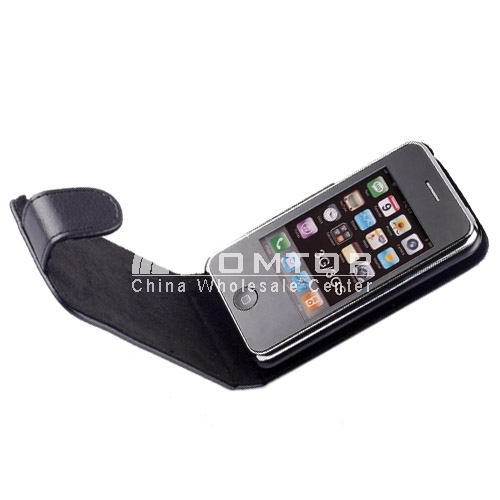 Black LEATHER FLIP SKIN CASE COVER FOR APPLE IPHONE 3G 3GS
