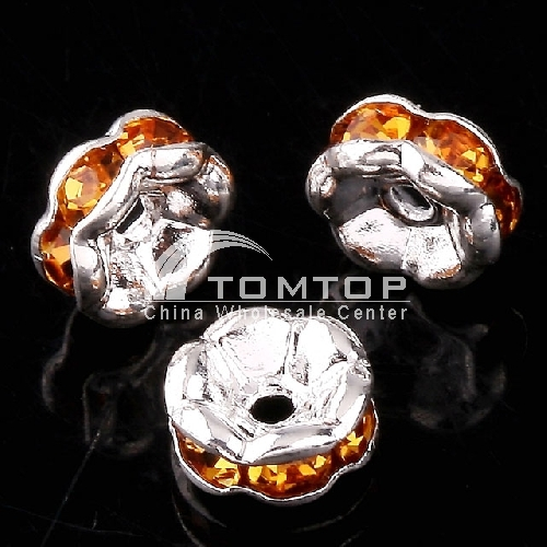 6MM TOPAZ CRYSTAL SPACER BEADS FINDINGS 10szt. Jlm75