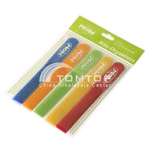 Cinco cores de fio cabo empacotado conduto laços