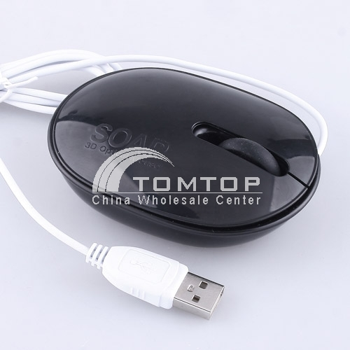 Soap Shape Scroll Wheel Wired USB 3D Optical Mouse - Black