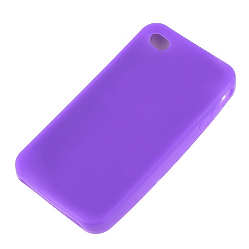 Purple Silicone Rubber Case Cover For Apple iPhone 4G OS 4th