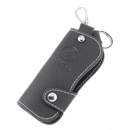 Genuine Leather Keychain Car Auto Buick Key Case Holder -Black