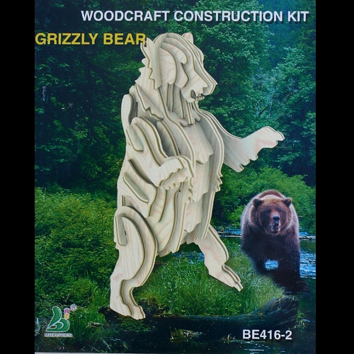 Wood 3D Puzzle Educational Toy Assembly Grizzly Bear Gift