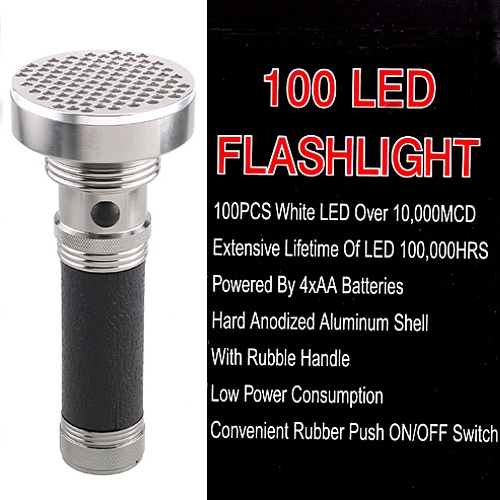 Ultra Bright 100 LED Flashlight Torch for Hiking Camping