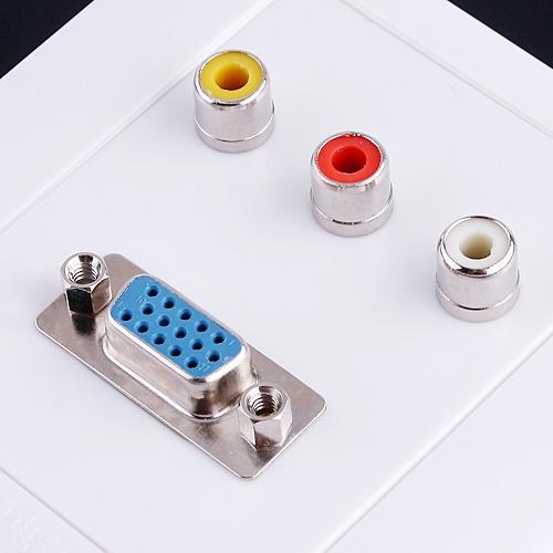 1 x M/F VGA 3 x AV Wall Plate Coupler Socket Panel