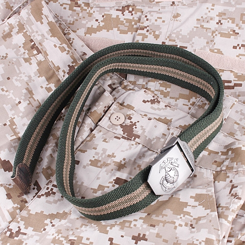 Military Cool Canvas Stripe Unisex Belt Army Green 40