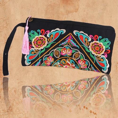 New Fashion Women Clutch Bag Embroidery Contrast Wrist Strap Elegant Mobile Phone Bag