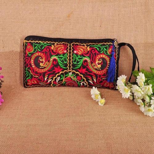 Новая мода женщин клатч вышивка контраст запястье ремешок элегантный мобильный телефон сумка