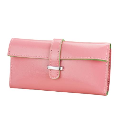 Nueva moda mujeres largo PU suave cuero correa Color caramelo monedero tarjeta soporte embrague bolsa monedero
