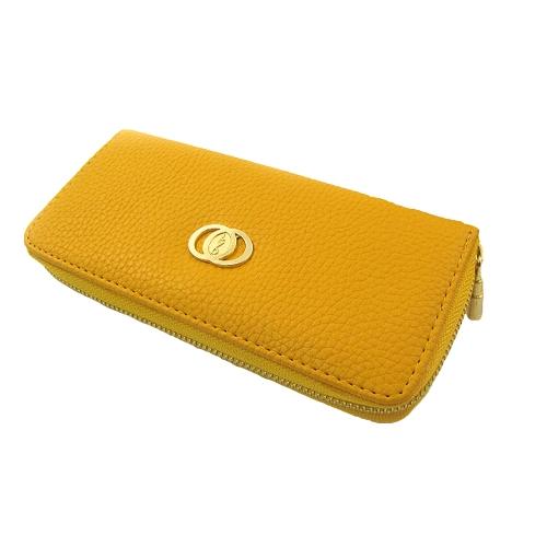 Moda mujer monedero largo PU cremallera de Metal cartera teléfono tarjeta soporte embrague bolso de cuero
