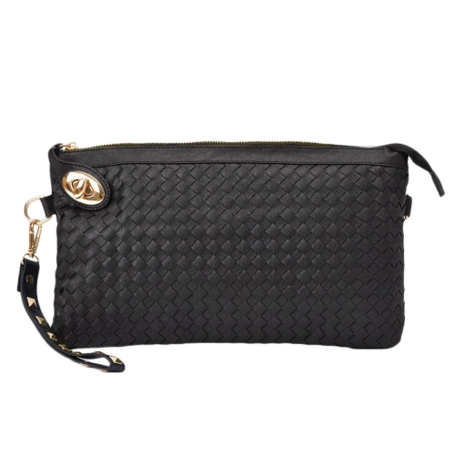 Fashion Women Clutch Bag PU Leather Woven Pattern Twist Lock Zipper Rivet Envelope Shoulder Bag Black/White