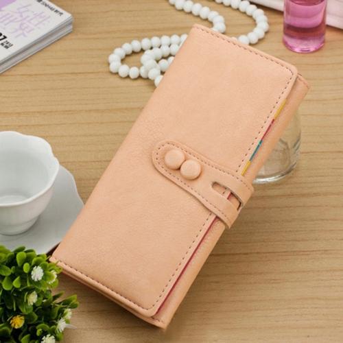 Nueva moda mujer largo bolsa PU cuero Press Stud cierre Color caramelo cartera titular de la tarjeta