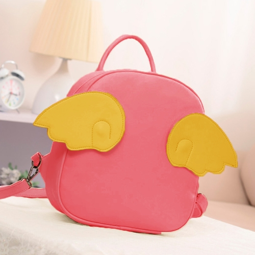 Fashion Women Backpack Zipper Closure PU Leather Solid Color Optional Angel Wings Satchel Shoulder Bag Tote