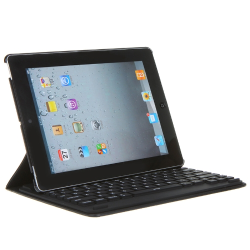 Bluetooth Wireless Keyboard Leather Case Cover Stand for Apple The new iPad 2/3 Black