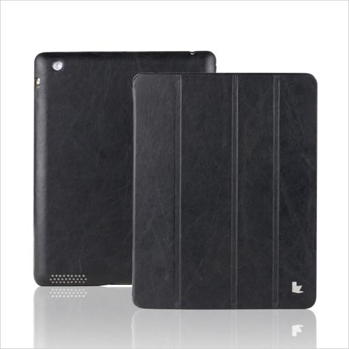 Istna skóra magnetyczny Smart Cover Protective Case Stojak na iPad 4 3 2 budzenie uśpienia Vintage czarny