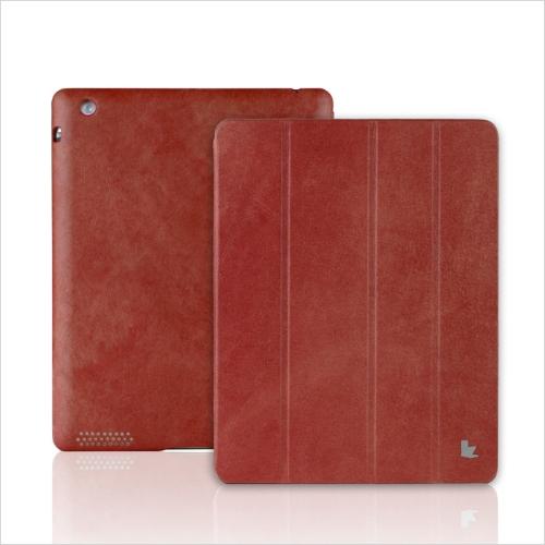 Reais couro magnética inteligente cobrir protetora caso Stand para iPad 4 3 2 despertar dormir Vintage vermelho
