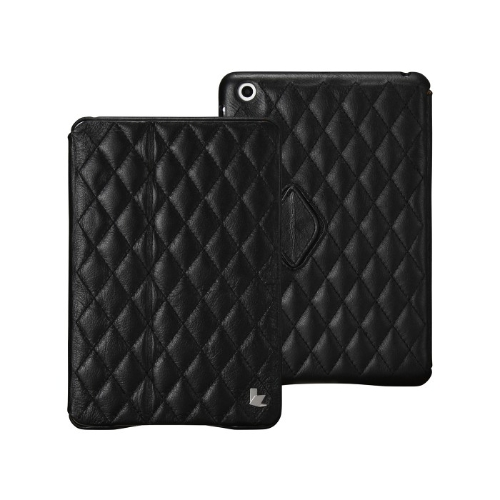 Quilted Magnetic Smart Cover Protective Case for iPad mini Wake-up Sleep Real Cow Leather Black