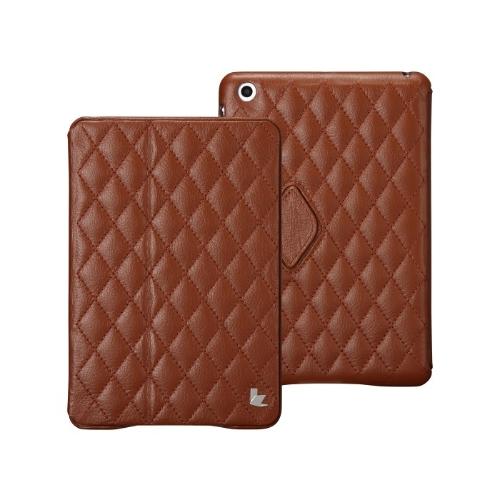 キルトの磁気スマート カバー保護ケース ipad とミニ ウェイク アップ睡眠本物牛レザー ブラウン