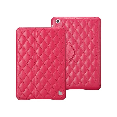 Quilted Magnetic Smart Cover Protective Case for iPad mini Wake-up Sleep Real Cow Leather Rose