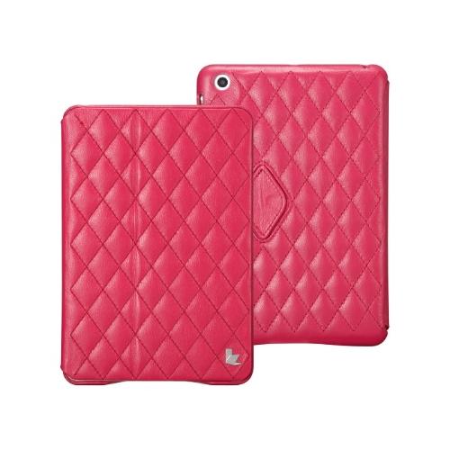 磁気スマート カバー保護ケース ipad とミニ ウェイク アップ睡眠本物牛の革のバラのキルト