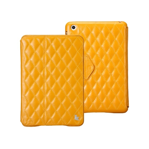 Quilted Magnetic Smart Cover Protective Case for iPad mini Wake-up Sleep Real Cow Leather Yellow