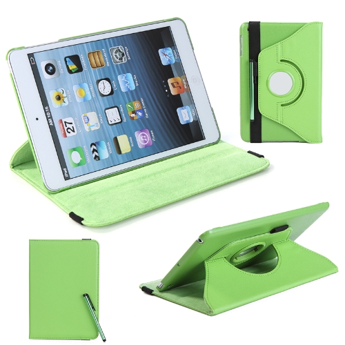 360 Degrees Rotating Protective Leather Case Skin Cover Stand for Apple iPad Mini Green with Stylus Pen & Screen Protector & Cleaning Cloth