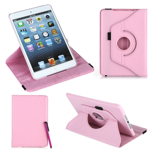 360 Degrees Rotating Protective Leather Case Skin Cover Stand for Apple iPad Mini Pink with Stylus Pen & Screen Protector & Cleaning Cloth
