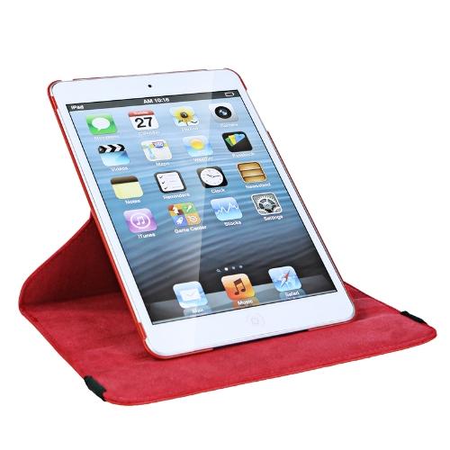 360 graus de giro protetora couro caso pele cobrir Stand para Apple iPad Mini vermelho com pano de limpeza & de protetor de tela & de caneta Stylus
