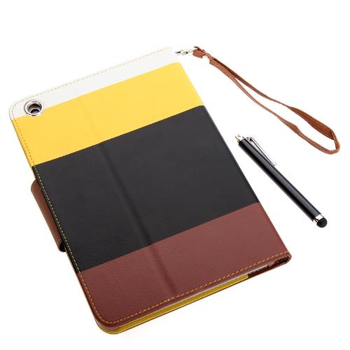 Magnético carteira inteligente cobrir Stand Case Flip para iPad mini PU couro híbrido cor Wake/Sleep presente caneta Stylus