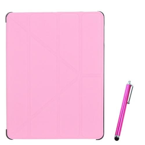 Magnético Slim PU couro Smart Cover Stand caixa para iPad 2 3 4 acordar & dormir Ultrathin múltiplas formas presente Stylus caneta rosa