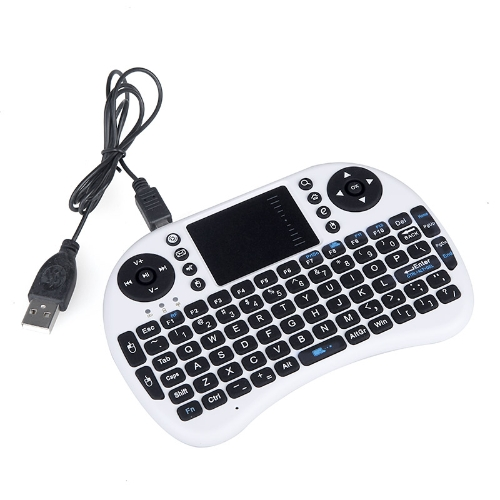 2.4 G Mini teclado QWERTY sem fio Mouse Touchpad para Notebook PC Android TV caixa HTPC branco