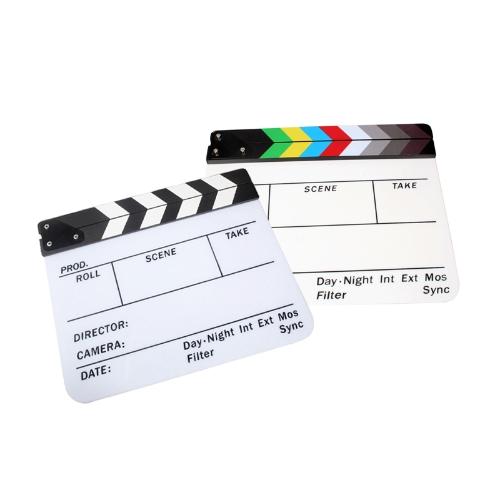 Acrylic Clapboard Dry Erase Director Film Movie Clapper Board Slate 9.6 * 11.7