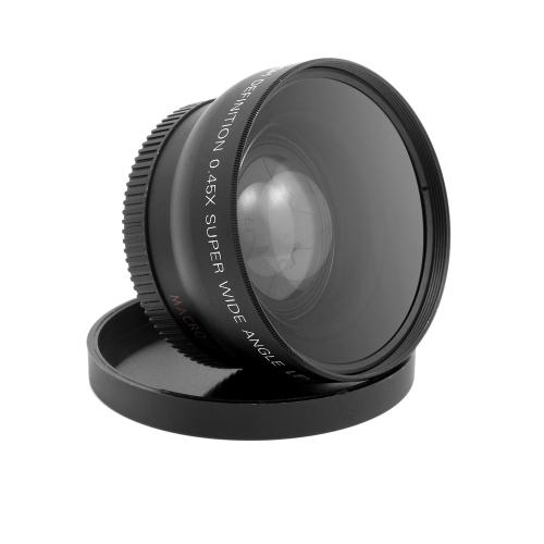 HD 52mm szerokokątny 0.45x obiektywu z obiektywem makro dla Canon Nikon Sony Pentax 52mm DSLR Camera