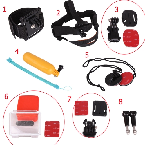 Andoer 8 in 1 Accessories Set Curved Base J-hook Mount Head Strap Folating Hand Grip Wrist Band 3M Sticker Ski Surf for Gopro Hero 3+