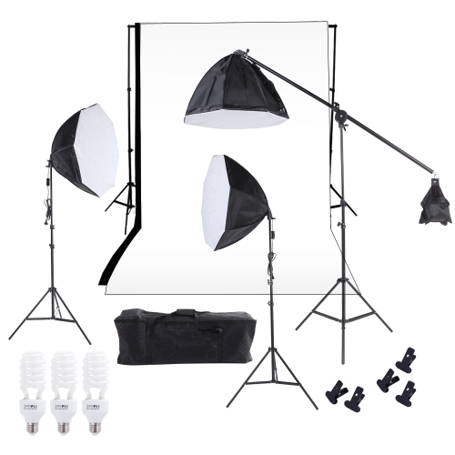 Photography Studio Lighting Softbox Photo Light Muslin Backdrop Stand Kit