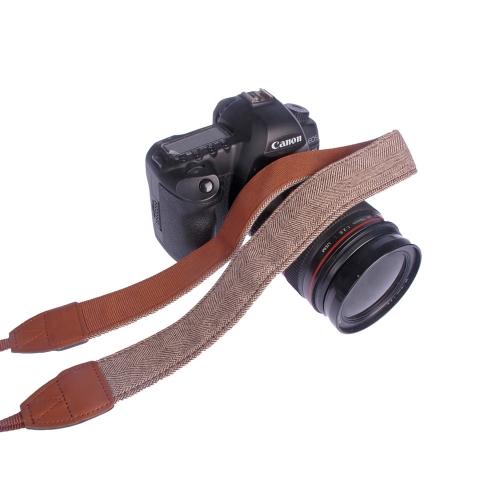 Correa / Cinturón de Cámara para Hombro / Cuello para Sony Nikon Canon Olympus Panasonic Pentax DSLR SLR ( Estilo Retro - Marrón)