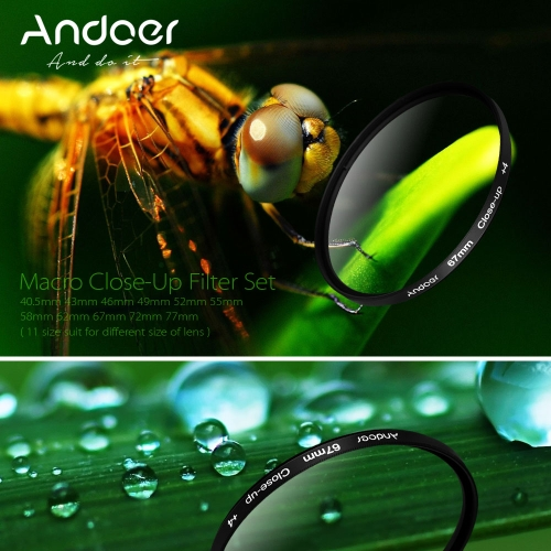 Andoer 52mm  Macro Close-Up filtre un ensemble de +1 +2 +4 +10 avec étui poche pour Nikon Canon Sony DSLR