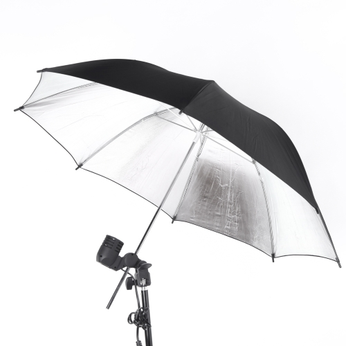 102cm / 40in Studio Photo Strobe Flash Light Reflector Black Silver Umbrella