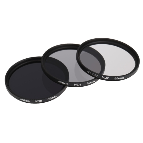 Andoer 55mm Fader ND Filter Kit Neutral Density Photography Filter Set (ND2 ND4 ND8) for Nikon Canon Tamron Sigma Sony Alpha A200 A450 A300 DSLRs