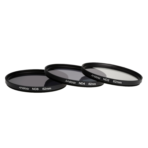 Andoer 62mm Fader ND Filter Kit Neutral Density Photography Filter Set (ND2 ND4 ND8) for Nikon Canon Sigma Sony DSLRs