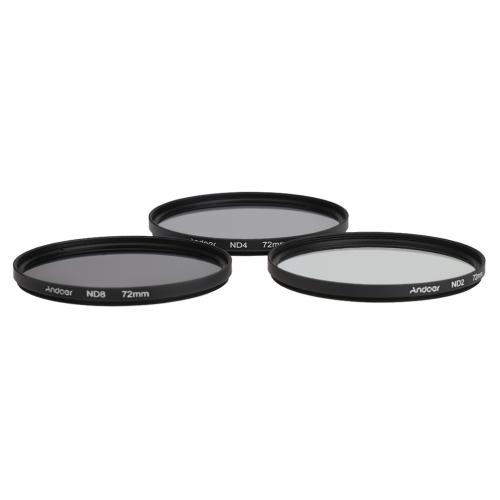 Andoer 72mm Fader ND Filter Kit Neutral Density Photography Filter Set (ND2 ND4 ND8) for Nikon Canon DSLRs